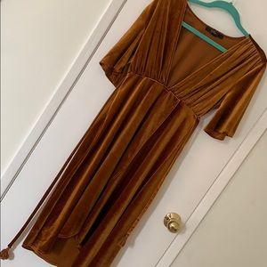 Gold velvet retro dress